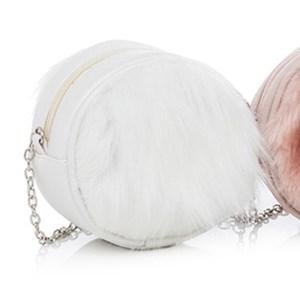 760014 - Bolsa Infantil / Teen Modelo Redondo Com Pele Ecológica (Unitária) - 1+1 Branco