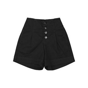 Bermuda feminina teen em sarja com cintura alta e fechamento em botoes Preto