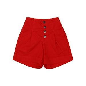 Bermuda feminina teen em sarja com cintura alta e fechamento em botoes Vermelho