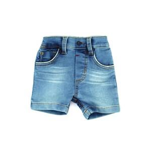 Bermuda Infantil / Baby Em Jeans Moletom Malha - Um Mais Um Delave