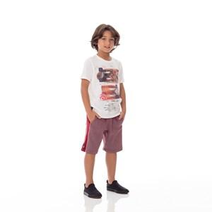 Bermuda Infantil/Kids Masculino Em Canelado Dublado - Um Mais Um Vermelho