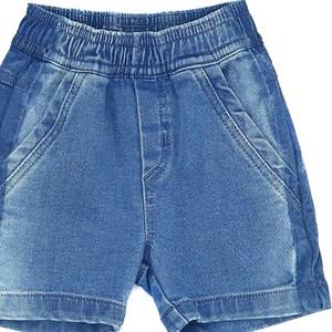 Bermuda Infantil/Kids Masculino Em Jeans Maquinetado - Um Mais Um Delave