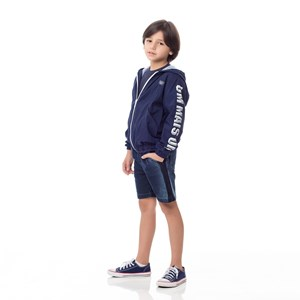 Bermuda Infantil/Kids Masculino Em Jeans Maquinetado - Um Mais Um Stone
