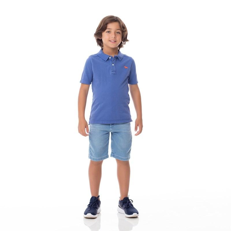 Bermuda Infantil/Kids Masculino Em Jeans Moletom - Um Mais Um Delave