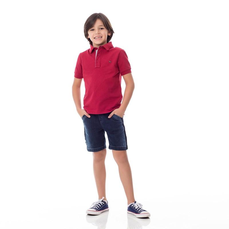 Bermuda Infantil/Kids Masculino Em Jeans Moletom - Um Mais Um Stone