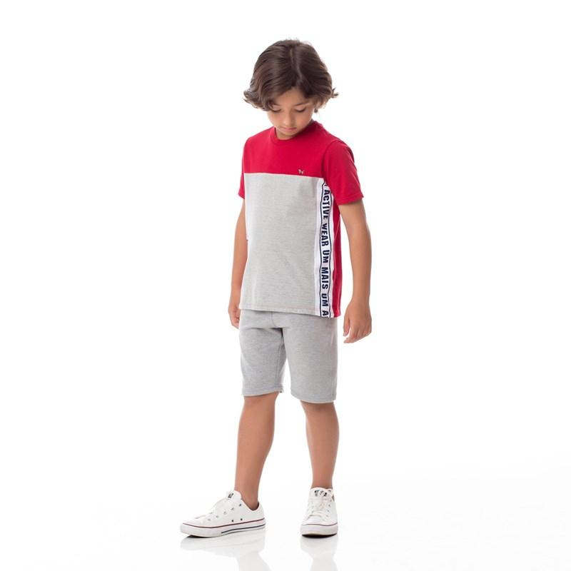Bermuda Infantil/Kids Masculino Em Moletinho De Viscose Com Lycra - Um Mais Um Mescla Claro