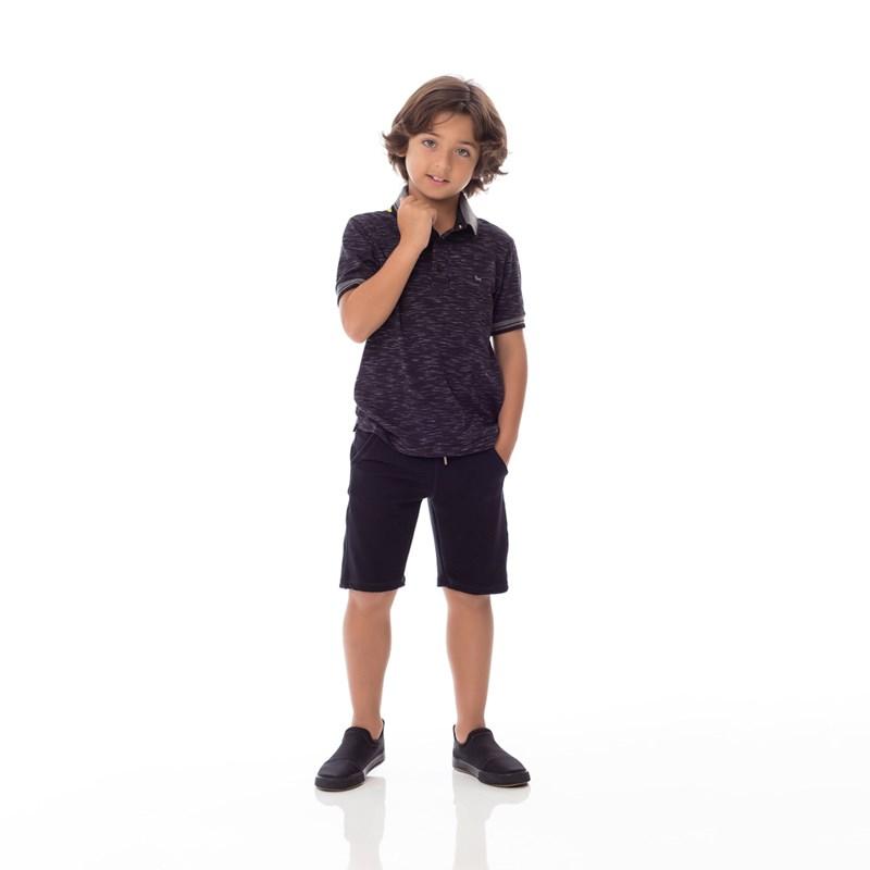 Bermuda Infantil/Kids Masculino Em Moletinho De Viscose Com Lycra - Um Mais Um Preto