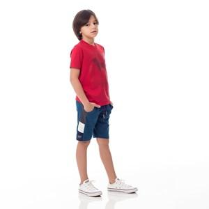 Bermuda Infantil/Kids Masculino Em Moletom Com Lycra Sem Felpa - Um Mais Um Azul