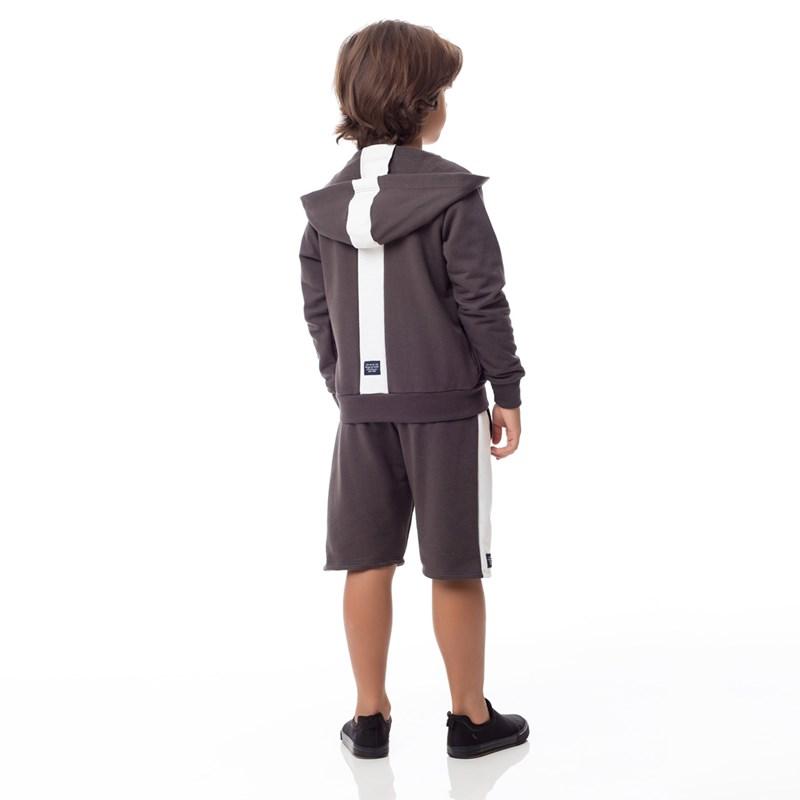 Bermuda Infantil/Kids Masculino Em Moletom Sem Felpa - Um Mais Um Caqui Escuro