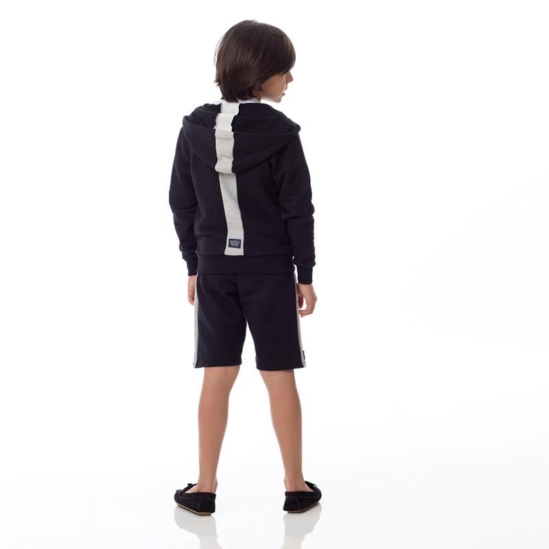 Bermuda Infantil/Kids Masculino Em Moletom Sem Felpa - Um Mais Um Preto