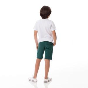 Bermuda Infantil/Kids Masculino Em Moletom Sem Felpa - Um Mais Um Verde