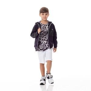 Bermuda Infantil/Kids Masculino Em Sarja Com Lycra - Um Mais Um Branco