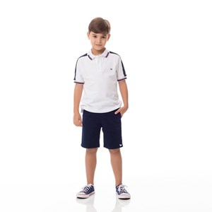 Bermuda Infantil/Kids Masculino Em Sarja Com Lycra - Um Mais Um Marinho