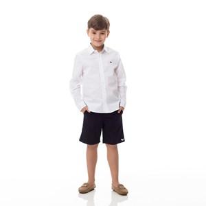 Bermuda Infantil/Kids Masculino Em Sarja Com Lycra - Um Mais Um Preto