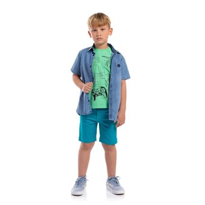 Bermuda Infantil Masculina Cores Lisas Az.Petroleo Usar 31