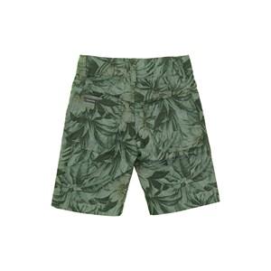 Bermuda Infantil Masculina Em Chambray Com Estampa Tropical - Um Mais Um Verde-Musgo
