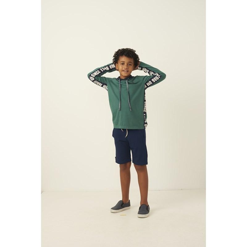 Bermuda infantil masculina em moletinho cos elastico e bolso faca Marinho