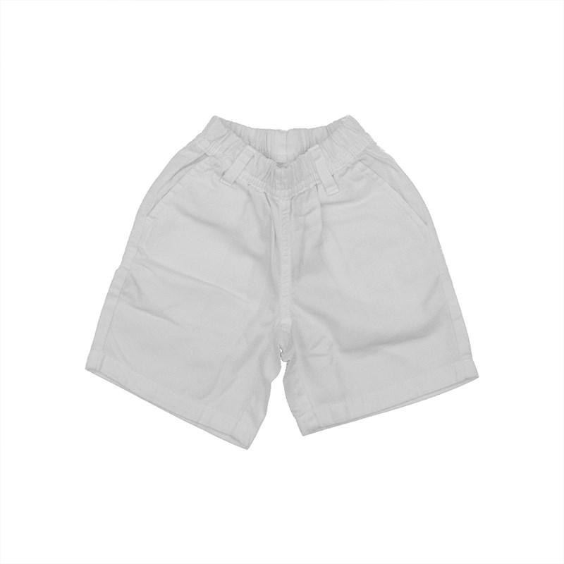 Bermuda infantil masculina em sarja com cos de elastico Branco