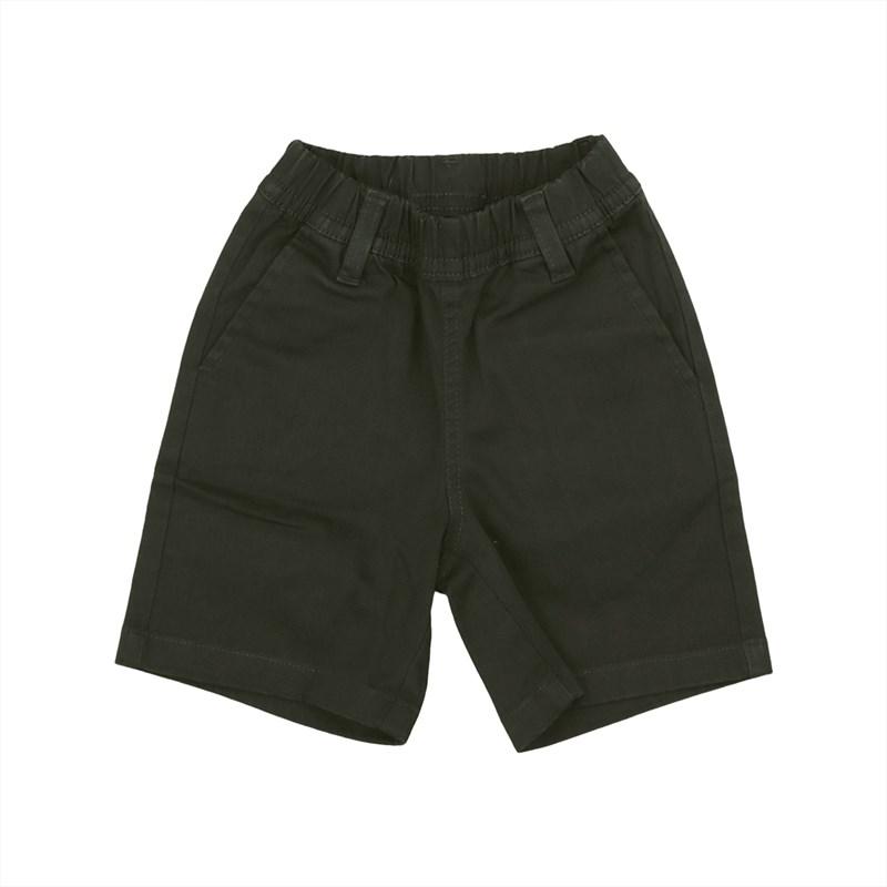 Bermuda infantil masculina em sarja com cos de elastico VERDE