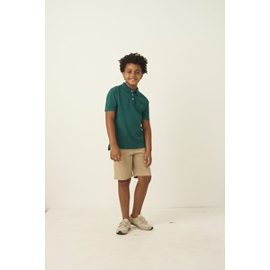 Bermuda infantil masculina em sarja fecho em botao e bolso faca CAQUI