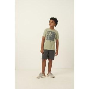 Bermuda infantil masculina em sarja fecho em botao e bolso faca CHUMBO