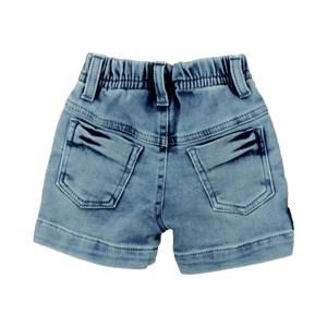 Bermuda Masculina Infantil / Baby Em Jeans Azul Maquinetado - Um Mais Um Delave