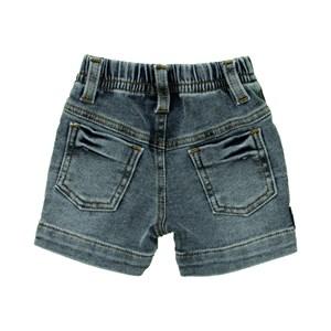Bermuda Masculina Infantil / Baby Em Jeans Azul Maquinetado - Um Mais Um Stone