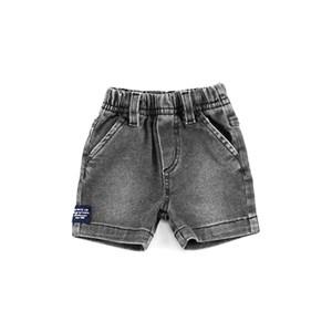 Bermuda Masculina Infantil / Baby Em Jeans Maquinetado Com Trcioline - Um Mais Um Preto