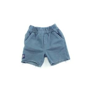 Bermuda Masculina Infantil / Baby Em Moletom Sem Felpa - Um Mais Um Azul Jeans