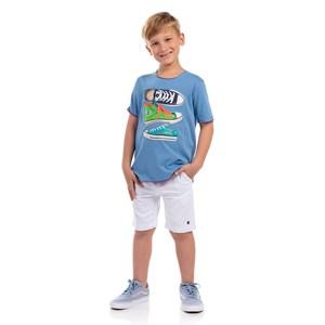 Bermuda Masculina Infantil Com Elástico Branco