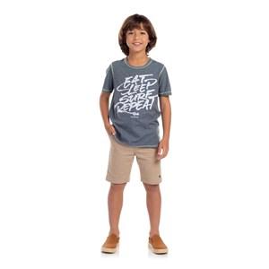 Bermuda Masculina Infantil Com Elástico Caqui