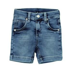 Bermuda Masculina Infantil / Kids Em Jeans Moletom Malha - Um Mais Um Delave