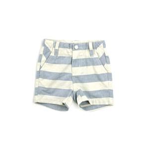 Bermuda Masculina Infantil / Kids Em Listrado Largo Com Chambray Cru - Um Mais Um Azul