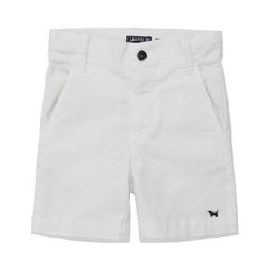 Bermuda Masculina Infantil / Kids Em Sarja Com Lycra - Um Mais Um Branco