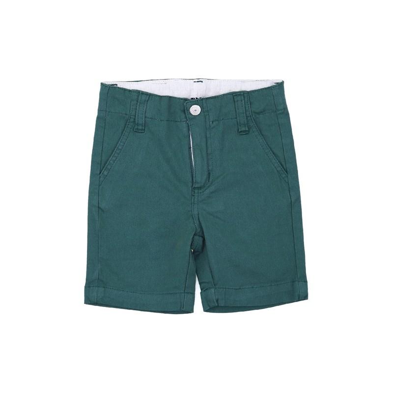 Bermuda Masculina Infantil / Kids Em Sarja Com Lycra - Um Mais Um Verde