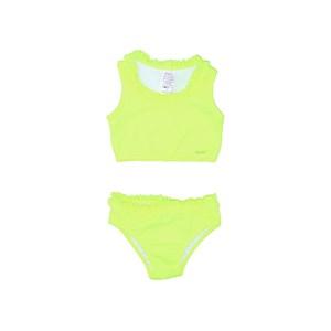 Biquini Infantil Top Cavado Com Calcinha De Babado Amarelo Neon             Fluor