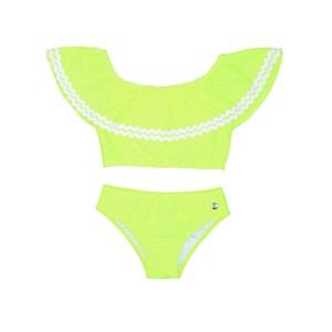 Biquini Infantil Top Ciganinha Com Calcinha Lisa Amarelo Neon             Fluor