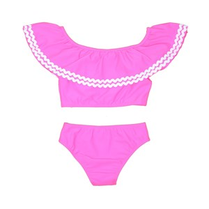 Biquini Infantil Top Ciganinha Com Calcinha Lisa Pink Neon                Fluor