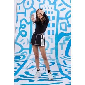 Blusa body manga longa teen em malha canelada com botoes Preto
