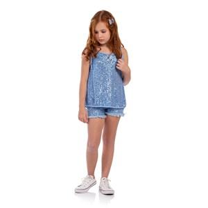 Blusa De Alcinha Infantil Em Paetê Azul