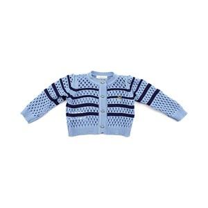 Blusa De Tricot Feminina Infantil / Baby Com Pingente Dourado De Cachorrinho Em Fio Seridó - 1+1 Azul Claro