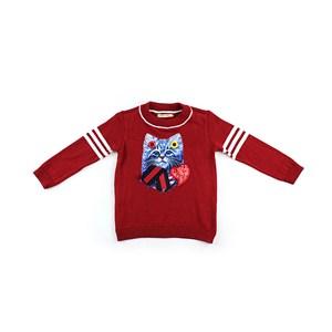Blusa De Tricot Feminina Infantil / Kids Com Estampa Frontal Em Feltro Feltycril - 1+1 Vermelho