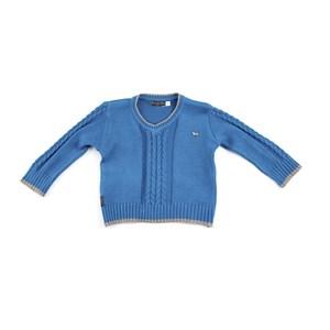 Blusa De Tricot Masculina Infantil / Baby Em Fio Acricotton - Um Mais Um Verde