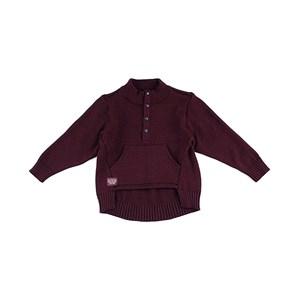 - Blusa De Tricot Masculina Infantil / Kids Com Bolso Em Fio Acricotton - 1+1 Vinho