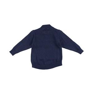 Blusa De Tricot Masculina Infantil / Kids Com Bolso Em Fio Acricotton Preto