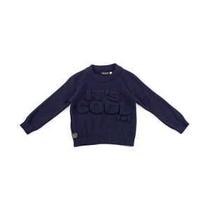 Blusa De Tricot Masculina Infantil / Kids Em Fio Acricotton - 1+1 Marinho