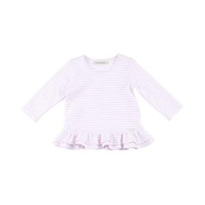 Blusa Feminina Infantil / Baby Manga Longa Em Malha Listrada - 1+1 Rosa Claro