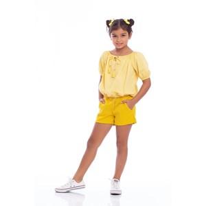 Blusa Feminina Infantil Blusa Gipsy Ciganinha Amarelo Canario