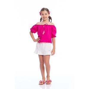 Blusa Feminina Infantil Blusa Gipsy Ciganinha Pink