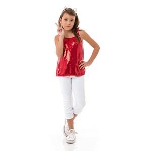 Blusa Feminina Infantil / Kids Em Malha Paetê Com Helanquinha Para Forro - Um Mais Um Vermelho